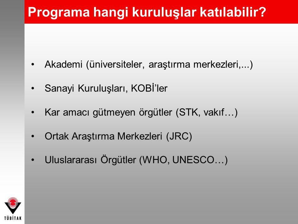 Programa hangi kuruluşlar katılabilir? •Akademi (üniversiteler, araştırma merkezleri,...) •Sanayi Kuruluşları, KOBİ'ler •Kar amacı gütmeyen örgütler (