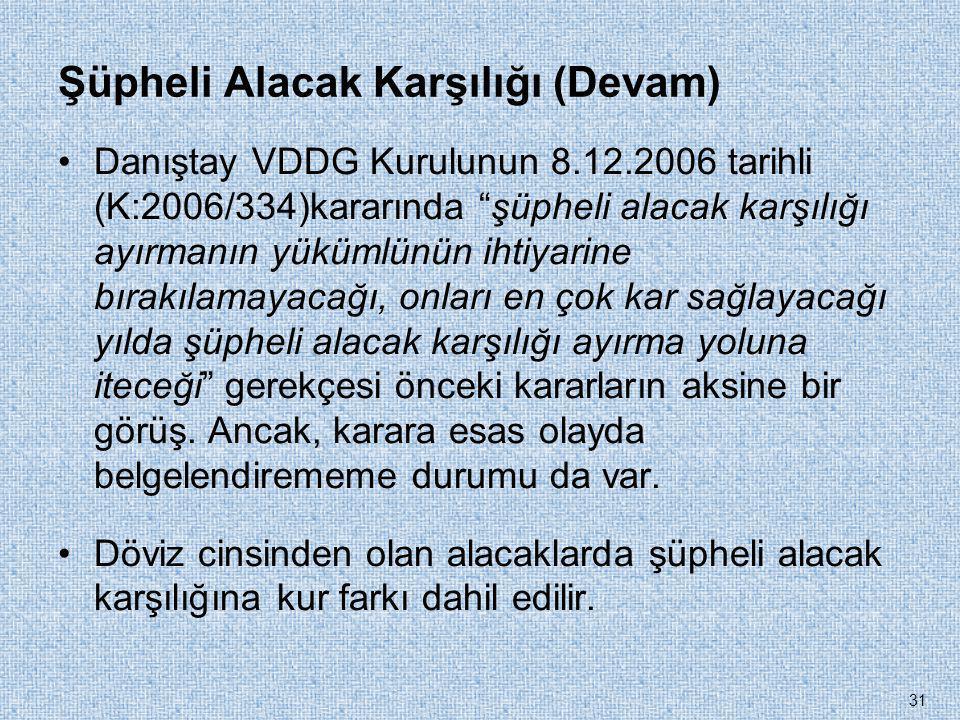 """Şüpheli Alacak Karşılığı (Devam) •Danıştay VDDG Kurulunun 8.12.2006 tarihli (K:2006/334)kararında """"şüpheli alacak karşılığı ayırmanın yükümlünün ihtiy"""