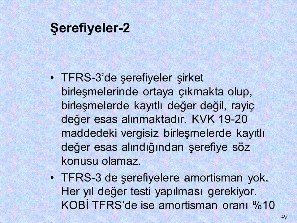 Şerefiyeler-2 •TFRS-3'de şerefiyeler şirket birleşmelerinde ortaya çıkmakta olup, birleşmelerde kayıtlı değer değil, rayiç değer esas alınmaktadır. KV