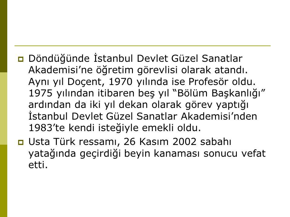  Döndüğünde İstanbul Devlet Güzel Sanatlar Akademisi'ne öğretim görevlisi olarak atandı.