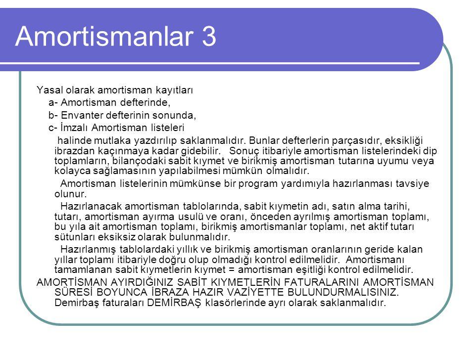 Amortismanlar 3 Yasal olarak amortisman kayıtları a- Amortisman defterinde, b- Envanter defterinin sonunda, c- İmzalı Amortisman listeleri halinde mut