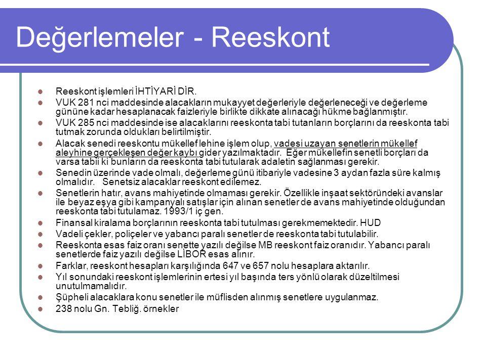 Değerlemeler - Reeskont  Reeskont işlemleri İHTİYARİ DİR.  VUK 281 nci maddesinde alacakların mukayyet değerleriyle değerleneceği ve değerleme günün