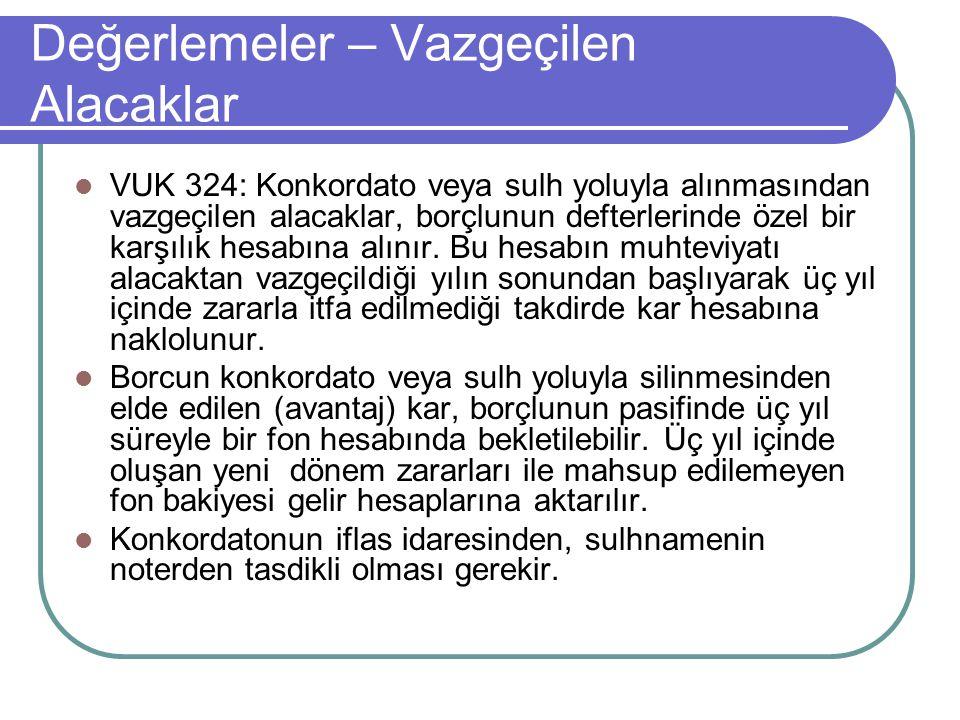 Değerlemeler – Vazgeçilen Alacaklar  VUK 324: Konkordato veya sulh yoluyla alınmasından vazgeçilen alacaklar, borçlunun defterlerinde özel bir karşıl