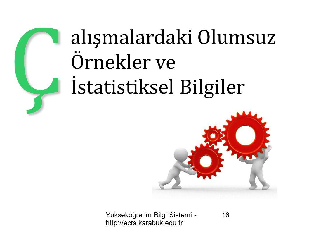 Yükseköğretim Bilgi Sistemi - http://ects.karabuk.edu.tr 16 Ç alışmalardaki Olumsuz Örnekler ve İstatistiksel Bilgiler