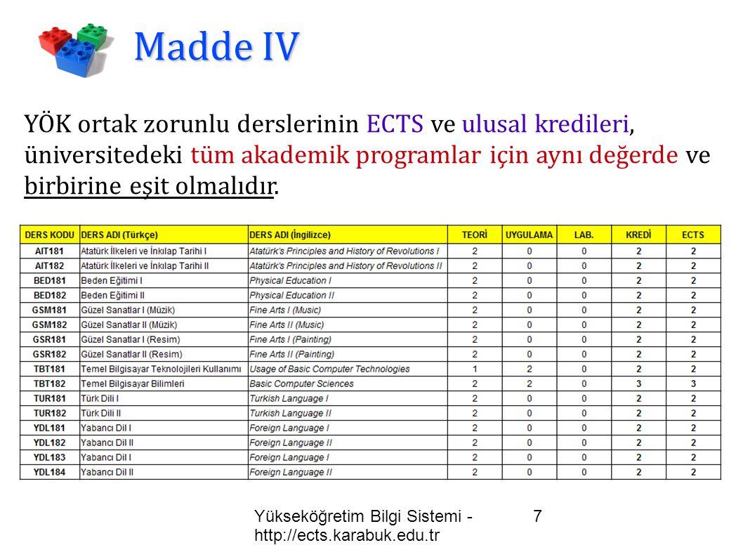Yükseköğretim Bilgi Sistemi - http://ects.karabuk.edu.tr 8 Madde V Öğrenim süresi 2 yıl olan akademik programların toplam ECTS kredisi 120 ye, Öğrenim süresi 4 yıl olan akademik programların toplam ECTS kredisi 240 a eşit olmalıdır.