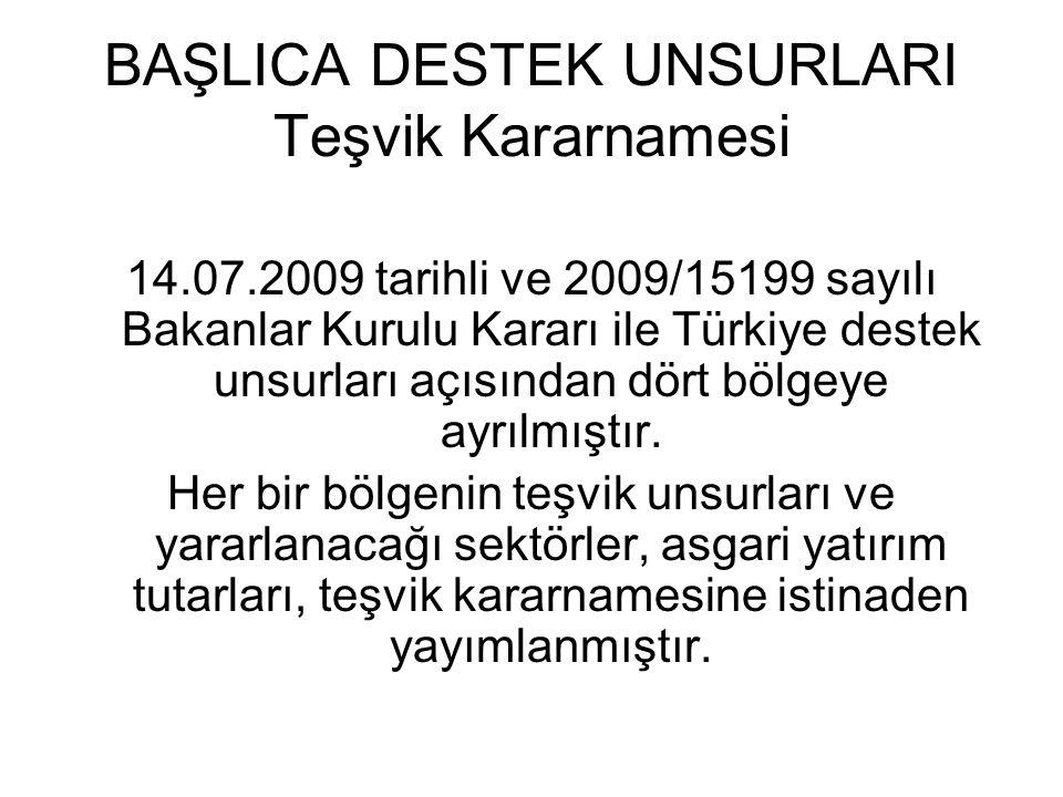 BAŞLICA DESTEK UNSURLARI Teşvik Kararnamesi 14.07.2009 tarihli ve 2009/15199 sayılı Bakanlar Kurulu Kararı ile Türkiye destek unsurları açısından dört