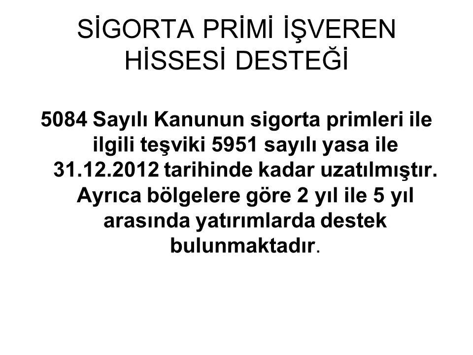 SİGORTA PRİMİ İŞVEREN HİSSESİ DESTEĞİ 5084 Sayılı Kanunun sigorta primleri ile ilgili teşviki 5951 sayılı yasa ile 31.12.2012 tarihinde kadar uzatılmı