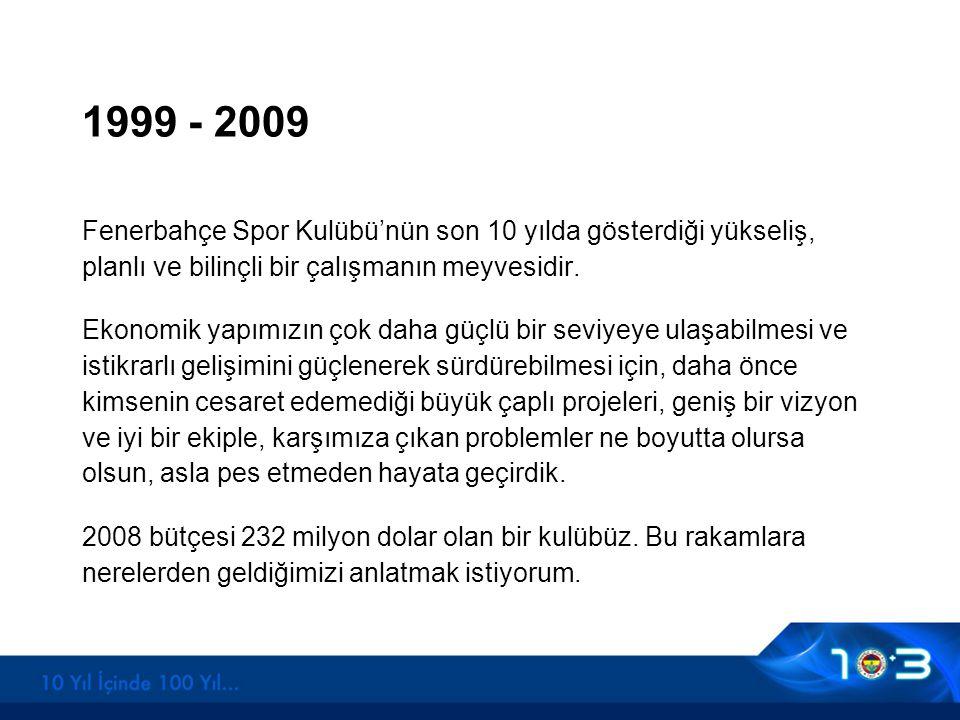 1999 - 2009 Fenerbahçe Spor Kulübü'nün son 10 yılda gösterdiği yükseliş, planlı ve bilinçli bir çalışmanın meyvesidir. Ekonomik yapımızın çok daha güç
