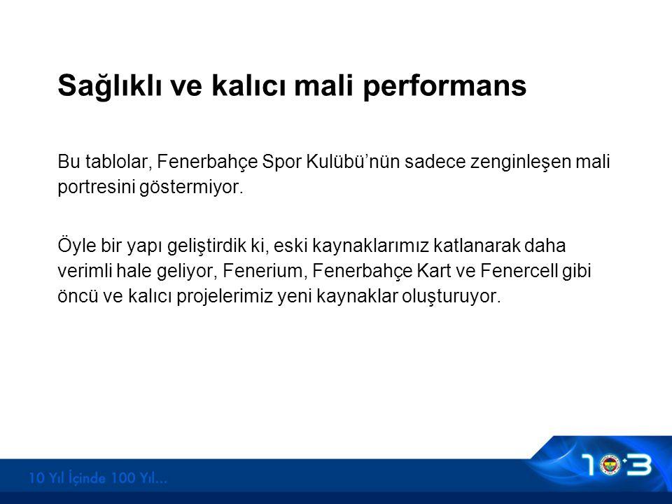 Sağlıklı ve kalıcı mali performans Bu tablolar, Fenerbahçe Spor Kulübü'nün sadece zenginleşen mali portresini göstermiyor. Öyle bir yapı geliştirdik k
