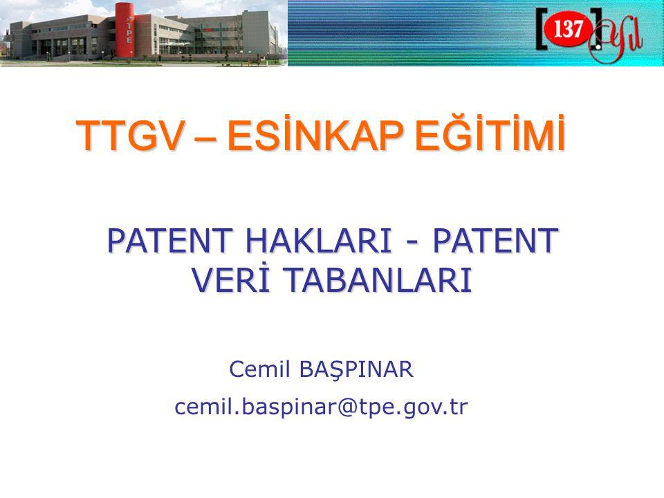 Avrupa Patenti (EPC) •Avrupa Patent Sözleşmesi (EPC) •Avrupa ülkelerinde patent verilmesi sistemi •Patent verilmesi işlemleri-Tek bir prosedür