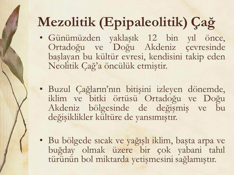 Mezolitik (Epipaleolitik) Çağ •Günümüzden yaklaşık 12 bin yıl önce, Ortadoğu ve Doğu Akdeniz çevresinde başlayan bu kültür evresi, kendisini takip ede