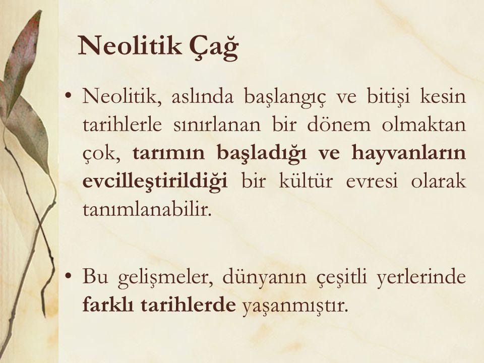 Neolitik Çağ •Neolitik, aslında başlangıç ve bitişi kesin tarihlerle sınırlanan bir dönem olmaktan çok, tarımın başladığı ve hayvanların evcilleştiril