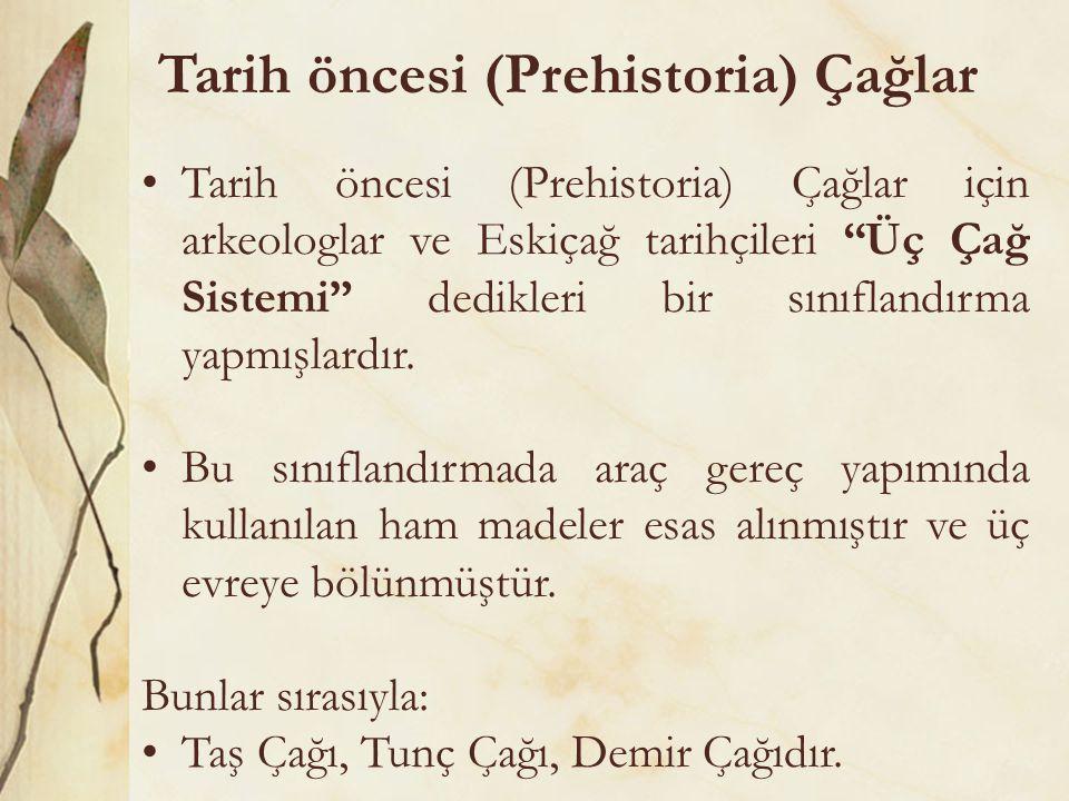 """Tarih öncesi (Prehistoria) Çağlar •Tarih öncesi (Prehistoria) Çağlar için arkeologlar ve Eskiçağ tarihçileri """"Üç Çağ Sistemi"""" dedikleri bir sınıflandı"""