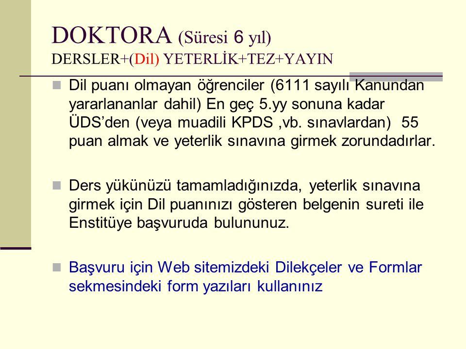 DOKTORA (Süresi 6 yıl) DERSLER+(Dil) YETERLİK+TEZ+YAYIN  Dil puanı olmayan öğrenciler (6111 sayılı Kanundan yararlananlar dahil) En geç 5.yy sonuna k