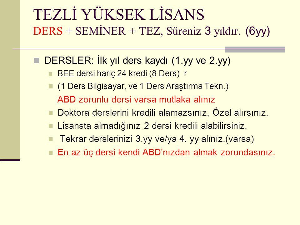 TEZLİ YÜKSEK LİSANS DERS + SEMİNER + TEZ, Süreniz 3 yıldır (6yy)  SEMİNER  3.
