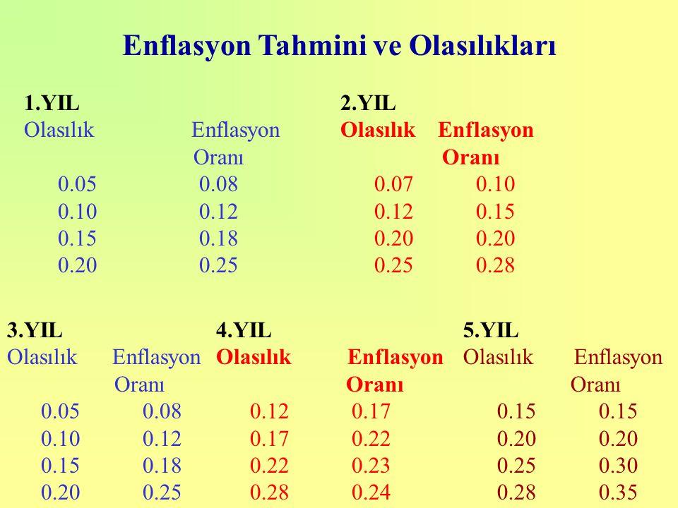 Enflasyon Tahmini ve Olasılıkları 1.YIL Olasılık Enflasyon Oranı 0.05 0.08 0.10 0.12 0.15 0.18 0.20 0.25 2.YIL Olasılık Enflasyon Oranı 0.07 0.10 0.12 0.15 0.20 0.20 0.25 0.28 3.YIL Olasılık Enflasyon Oranı 0.050.08 0.100.12 0.150.18 0.200.25 4.YIL Olasılık Enflasyon Oranı 0.12 0.17 0.170.22 0.22 0.23 0.28 0.24 5.YIL Olasılık Enflasyon Oranı 0.150.15 0.200.20 0.250.30 0.280.35