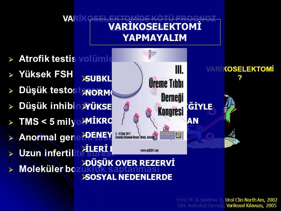   Atrofik testis volümleri   Yüksek FSH   Düşük testosteron   Düşük inhibin B   TMS < 5 milyon   Anormal genetik testler   Uzun infertil