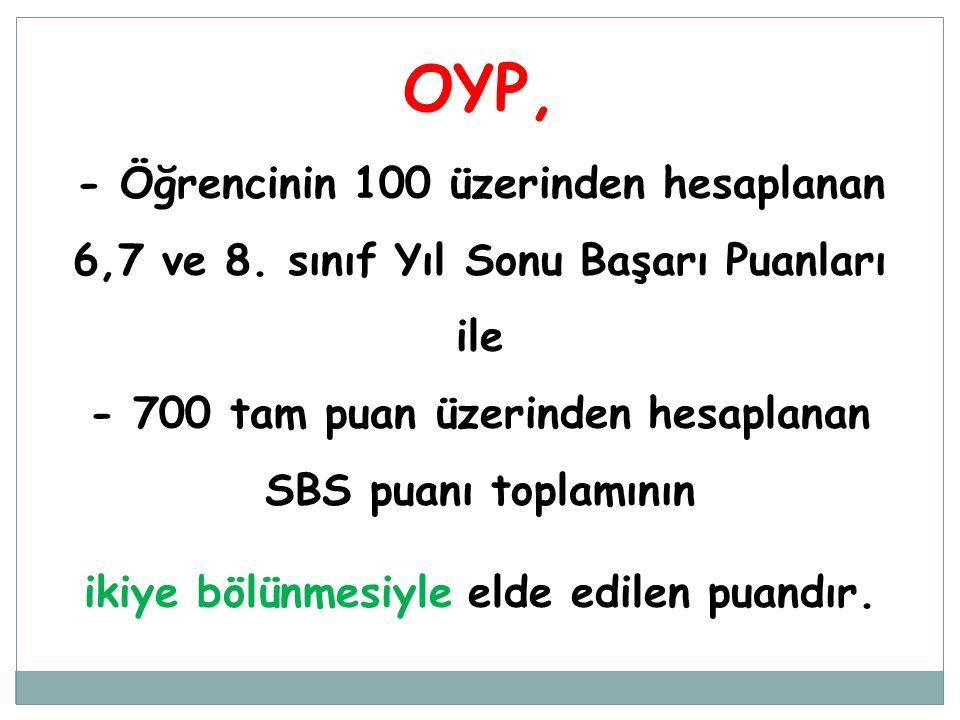 OYP, - Öğrencinin 100 üzerinden hesaplanan 6,7 ve 8. sınıf Yıl Sonu Başarı Puanları ile - 700 tam puan üzerinden hesaplanan SBS puanı toplamının ikiye