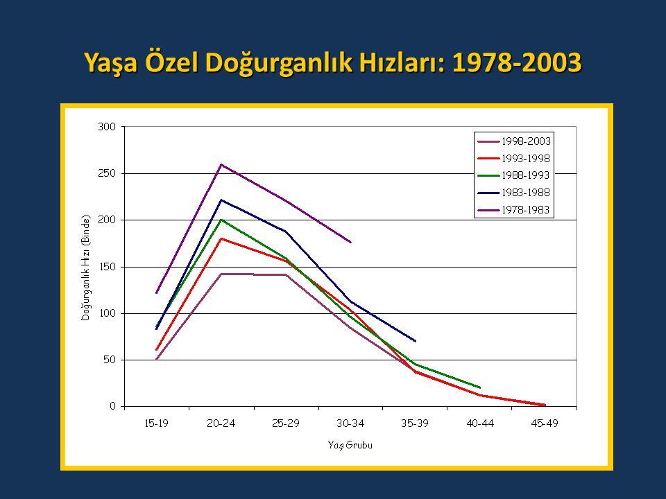 Yaşa Özel Doğurganlık Hızları: 1978-2003