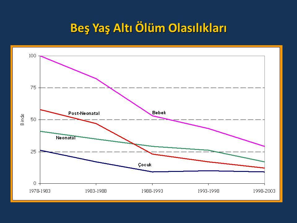 T NSA T NSA 1993 2003 Adoles an Doğumlar (15-19) 9,3 7,5 Doğum aralığı <24 ay 29,6 26,8 Yaş 35+ 7,7 8,7