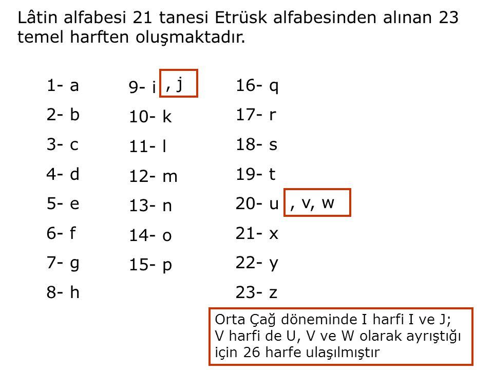 Lâtin alfabesi 21 tanesi Etrüsk alfabesinden alınan 23 temel harften oluşmaktadır. 1- a 2- b 3- c 4- d 5- e 6- f 7- g 8- h 9- i, j 10- k 11- l 12- m 1