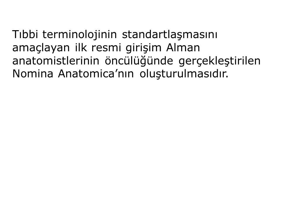 Tıbbi terminolojinin standartlaşmasını amaçlayan ilk resmi girişim Alman anatomistlerinin öncülüğünde gerçekleştirilen Nomina Anatomica'nın oluşturulm