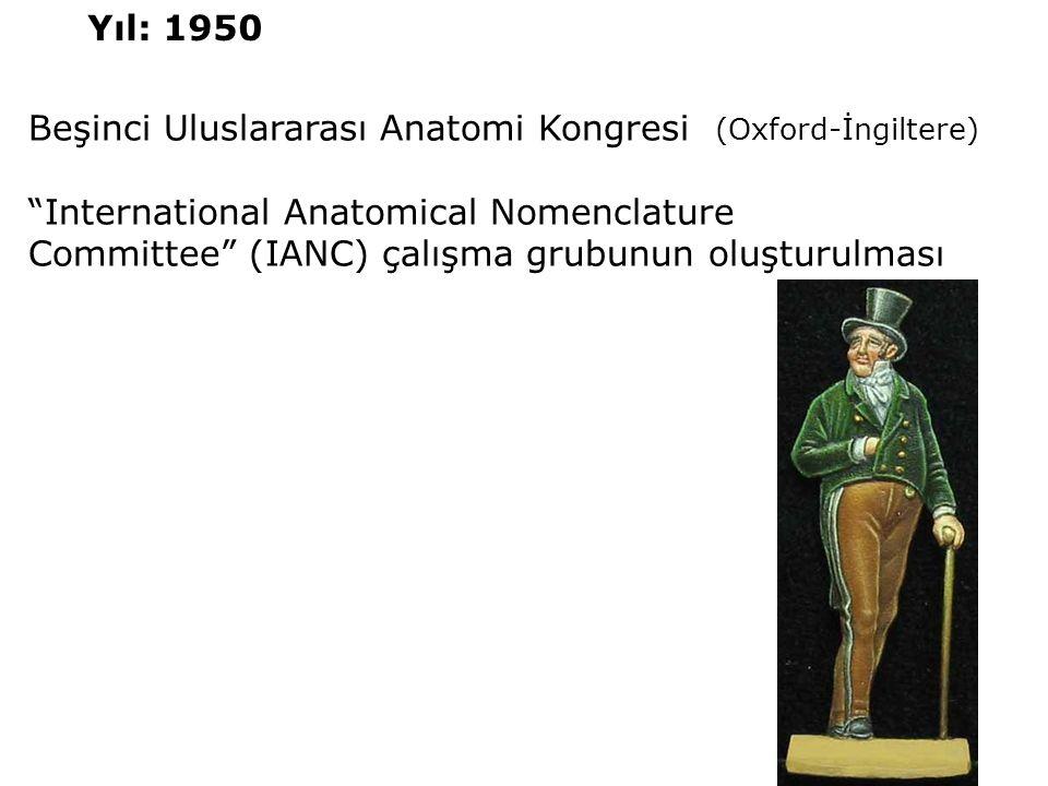 """Beşinci Uluslararası Anatomi Kongresi (Oxford-İngiltere) """"International Anatomical Nomenclature Committee"""" (IANC) çalışma grubunun oluşturulması Yıl:"""