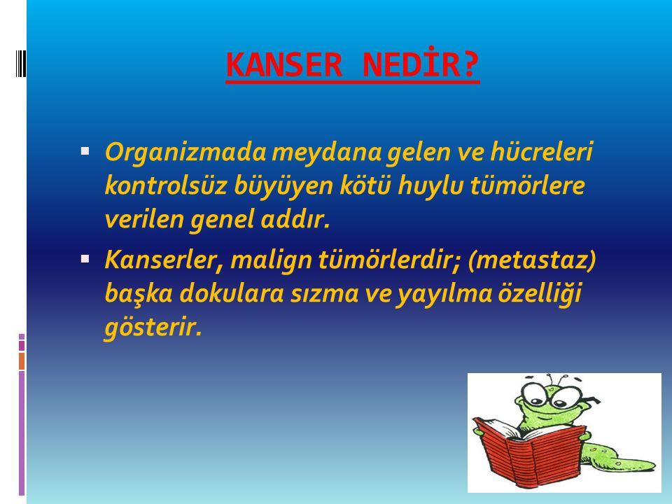 KANSER NEDİR?  Organizmada meydana gelen ve hücreleri kontrolsüz büyüyen kötü huylu tümörlere verilen genel addır.  Kanserler, malign tümörlerdir; (