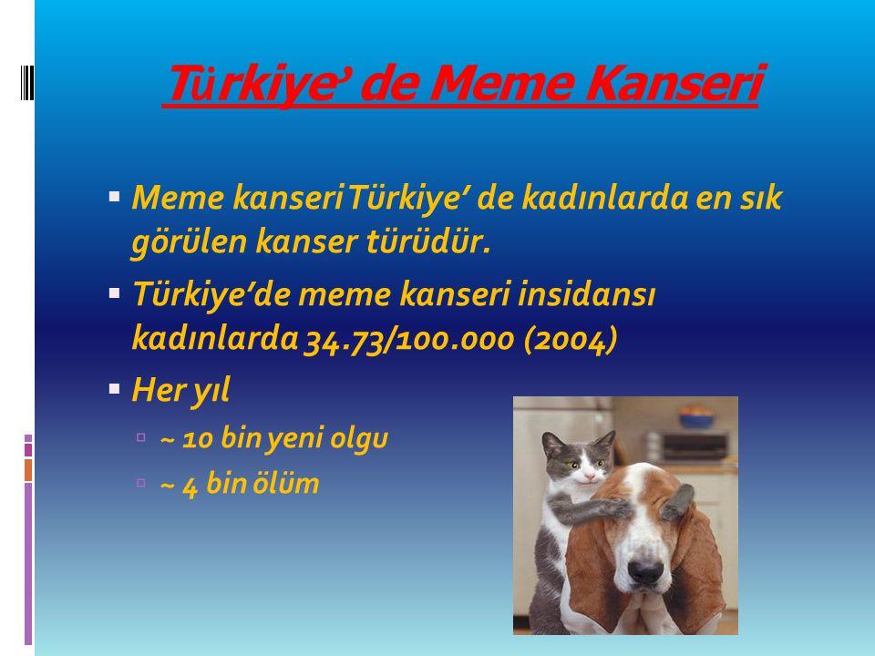 T ü rkiye ' de Meme Kanseri  Meme kanseri Türkiye' de kadınlarda en sık görülen kanser türüdür.  Türkiye'de meme kanseri insidansı kadınlarda 34.73/