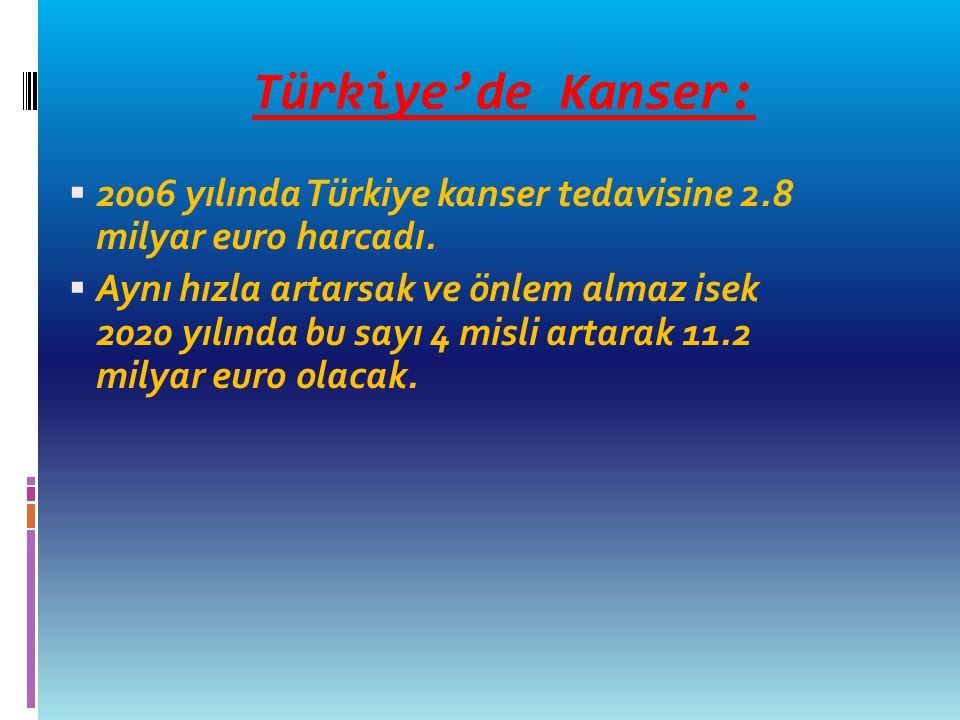 Türkiye'de Kanser:  2006 yılında Türkiye kanser tedavisine 2.8 milyar euro harcadı.  Aynı hızla artarsak ve önlem almaz isek 2020 yılında bu sayı 4
