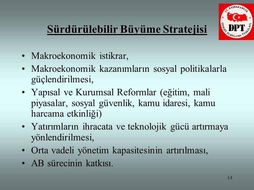 14 Sürdürülebilir Büyüme Stratejisi •Makroekonomik istikrar, •Makroekonomik kazanımların sosyal politikalarla güçlendirilmesi, •Yapısal ve Kurumsal Re