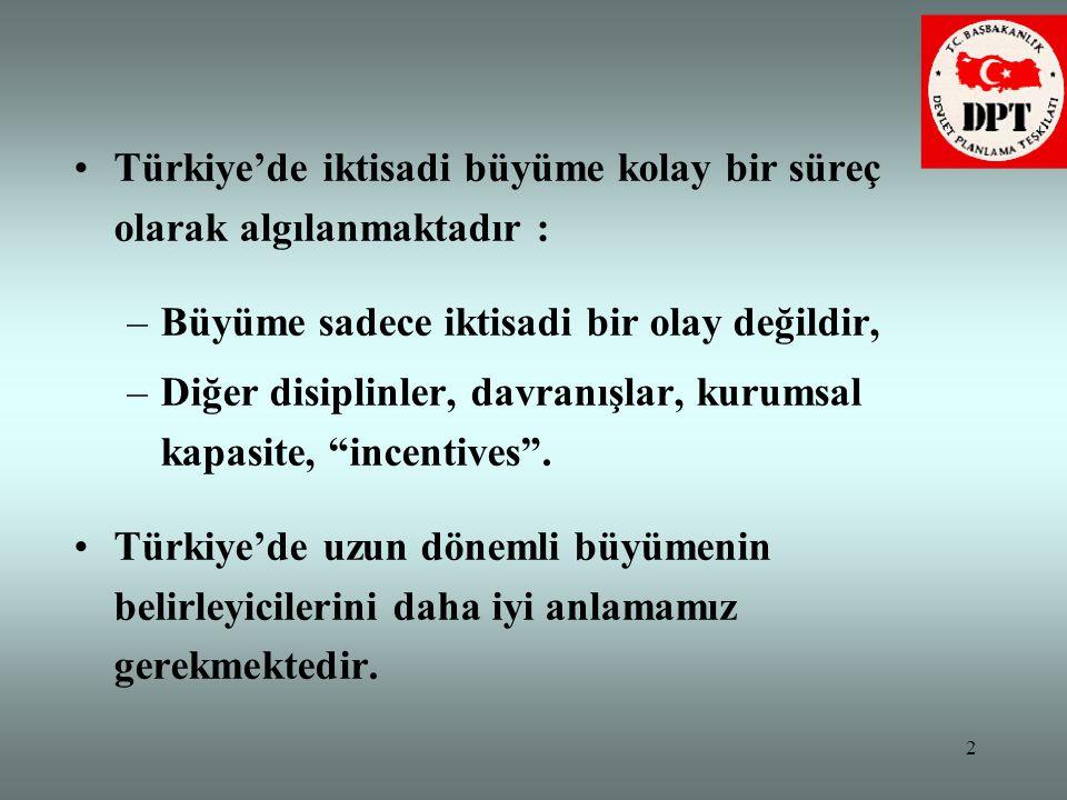2 •Türkiye'de iktisadi büyüme kolay bir süreç olarak algılanmaktadır : –Büyüme sadece iktisadi bir olay değildir, –Diğer disiplinler, davranışlar, kur