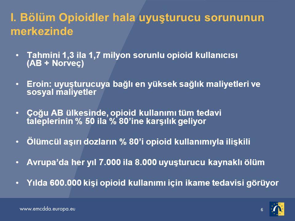 6 I. Bölüm Opioidler hala uyuşturucu sorununun merkezinde •Tahmini 1,3 ila 1,7 milyon sorunlu opioid kullanıcısı (AB + Norveç) •Eroin: uyuşturucuya ba