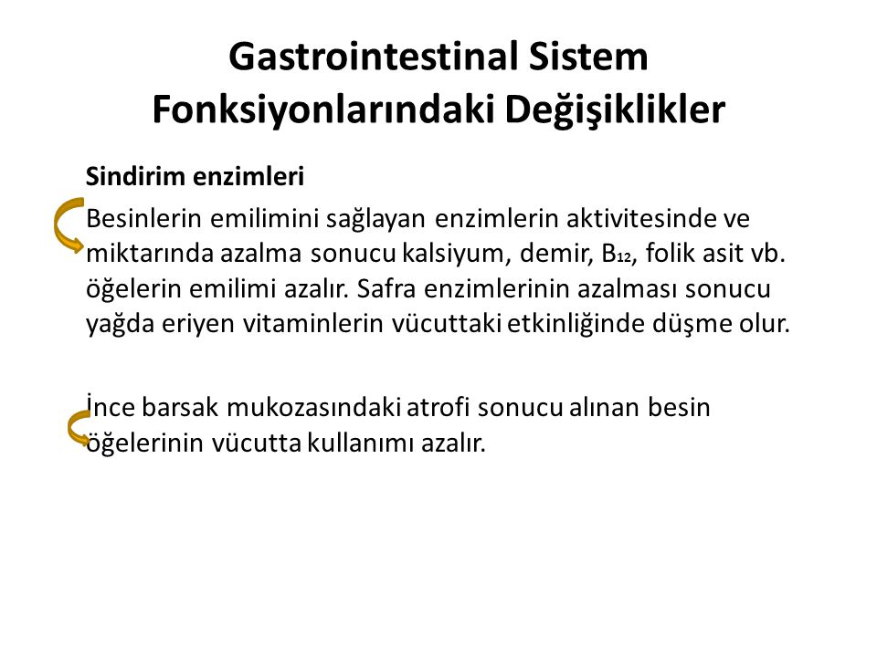 Gastrointestinal Sistem Fonksiyonlarındaki Değişiklikler Sindirim enzimleri Besinlerin emilimini sağlayan enzimlerin aktivitesinde ve miktarında azalm