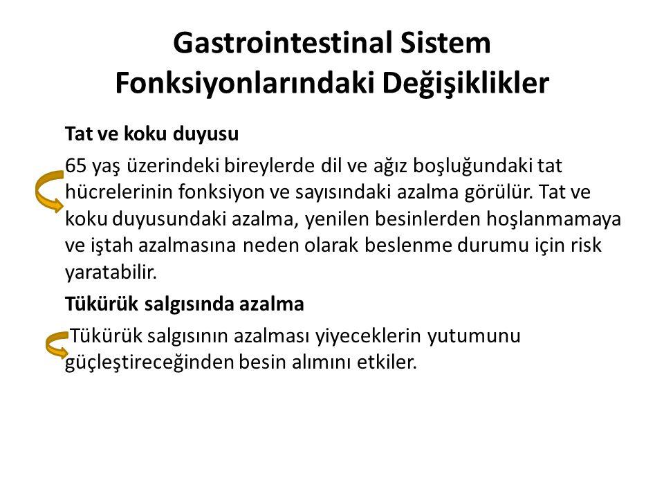 Gastrointestinal Sistem Fonksiyonlarındaki Değişiklikler Tat ve koku duyusu 65 yaş üzerindeki bireylerde dil ve ağız boşluğundaki tat hücrelerinin fon