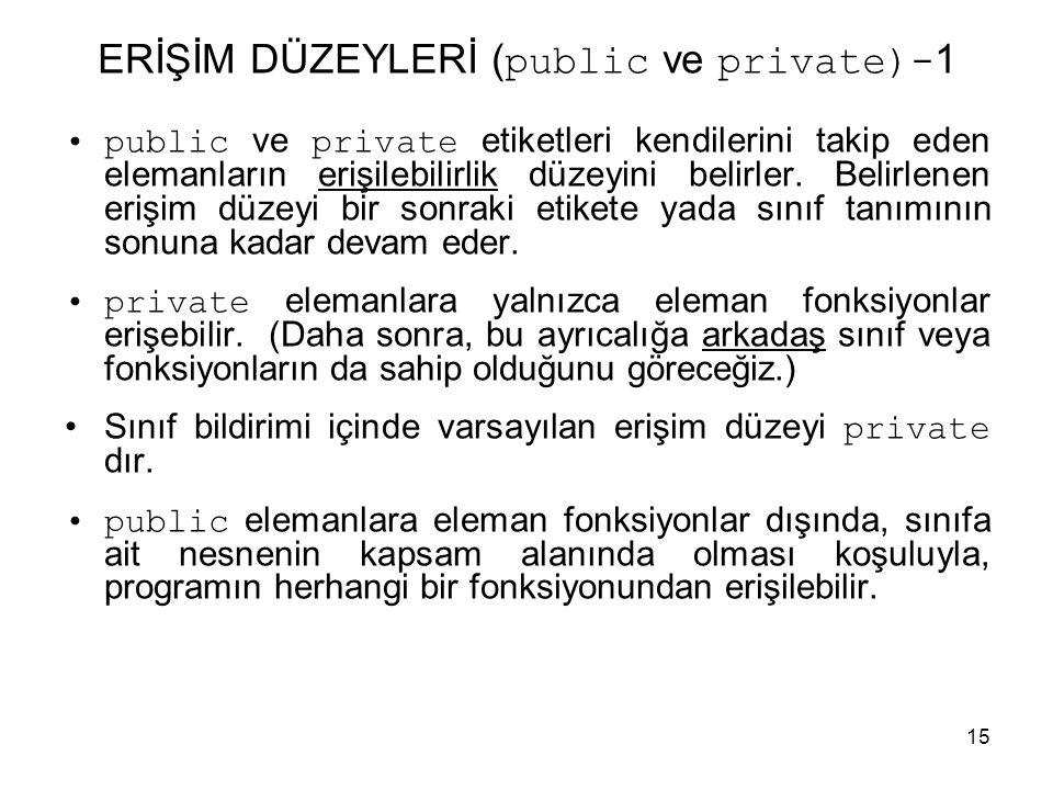 15 ERİŞİM DÜZEYLERİ ( public ve private)- 1 •public ve private etiketleri kendilerini takip eden elemanların erişilebilirlik düzeyini belirler. Belirl