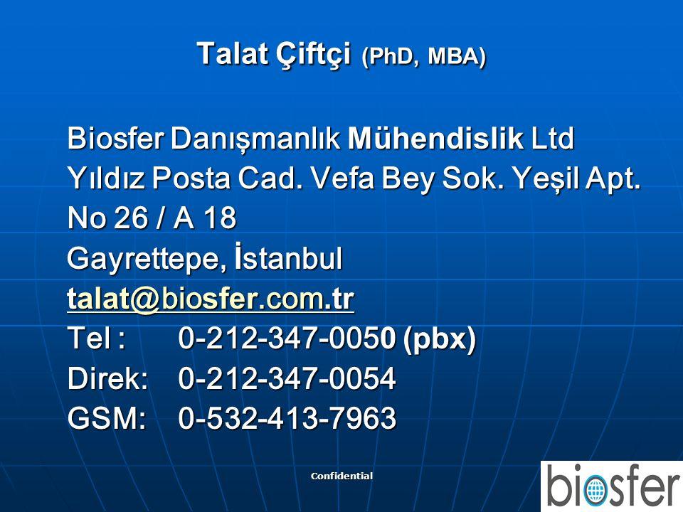 Confidential 28 Talat Çiftçi (PhD, MBA) Biosfer Danışmanlık Mühendislik Ltd Biosfer Danışmanlık Mühendislik Ltd Yıldız Posta Cad. Vefa Bey Sok. Yeşil