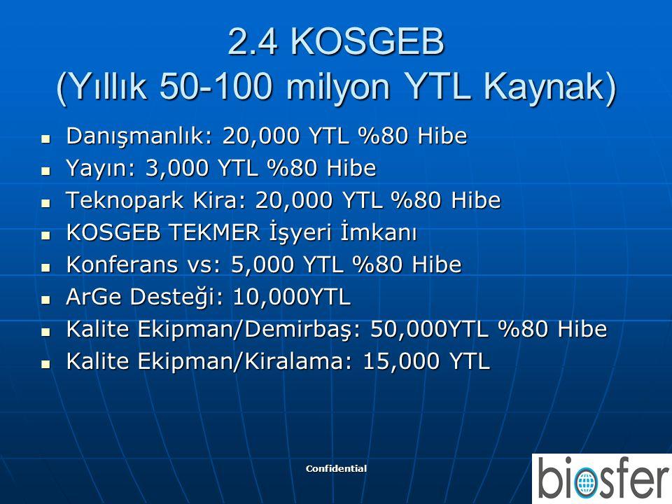 Confidential 8 2.4 KOSGEB (Yıllık 50-100 milyon YTL Kaynak)  Danışmanlık: 20,000 YTL %80 Hibe  Yayın: 3,000 YTL %80 Hibe  Teknopark Kira: 20,000 YT