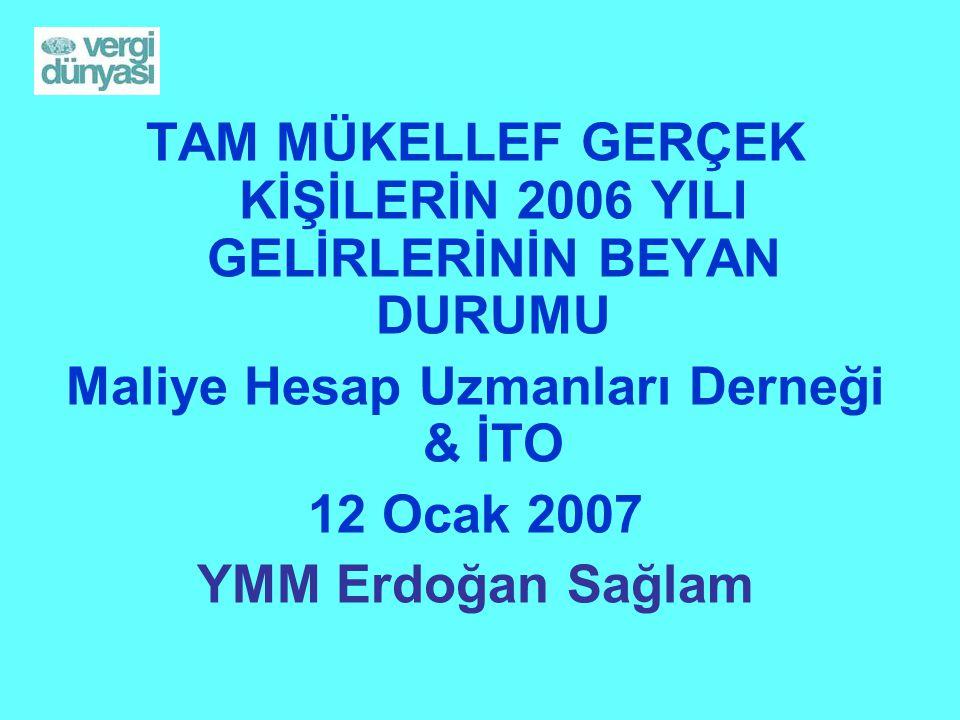 TAM MÜKELLEF GERÇEK KİŞİLERİN 2006 YILI GELİRLERİNİN BEYAN DURUMU Maliye Hesap Uzmanları Derneği & İTO 12 Ocak 2007 YMM Erdoğan Sağlam