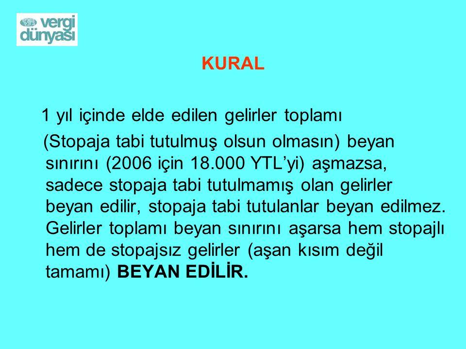 KURAL 1 yıl içinde elde edilen gelirler toplamı (Stopaja tabi tutulmuş olsun olmasın) beyan sınırını (2006 için 18.000 YTL'yi) aşmazsa, sadece stopaja