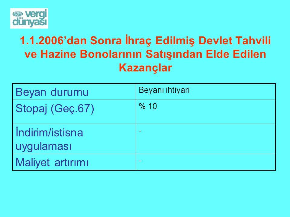 1.1.2006'dan Sonra İhraç Edilmiş Devlet Tahvili ve Hazine Bonolarının Satışından Elde Edilen Kazançlar Beyan durumu Beyanı ihtiyari Stopaj (Geç.67) %