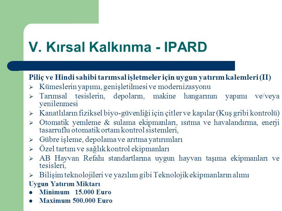 V. Kırsal Kalkınma - IPARD Piliç ve Hindi sahibi tarımsal işletmeler için uygun yatırım kalemleri (II)  Kümeslerin yapımı, genişletilmesi ve moderniz