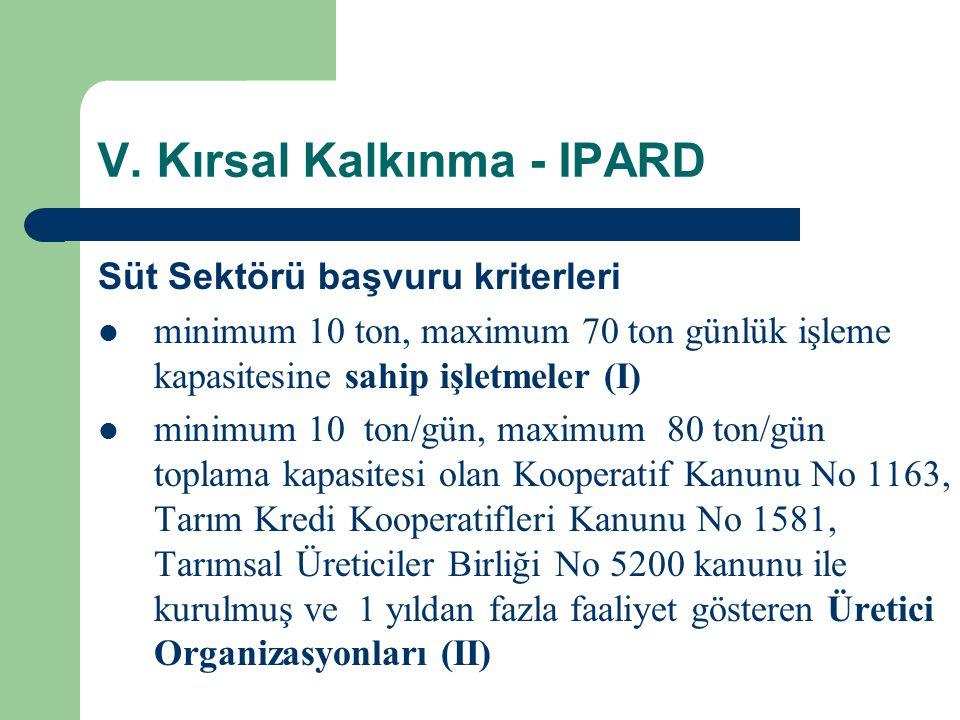 V. Kırsal Kalkınma - IPARD Süt Sektörü başvuru kriterleri  minimum 10 ton, maximum 70 ton günlük işleme kapasitesine sahip işletmeler (I)  minimum 1