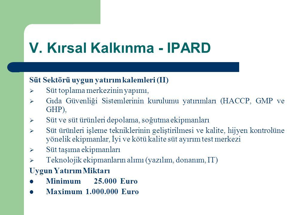 V. Kırsal Kalkınma - IPARD Süt Sektörü uygun yatırım kalemleri (II)  Süt toplama merkezinin yapımı,  Gıda Güvenliği Sistemlerinin kurulumu yatırımla