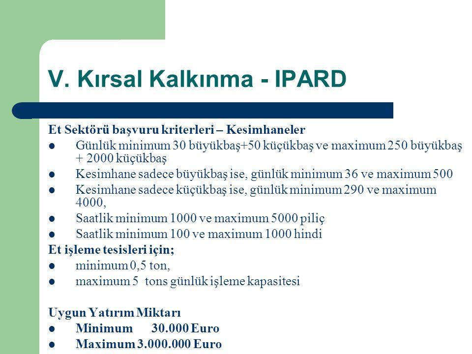 V. Kırsal Kalkınma - IPARD Et Sektörü başvuru kriterleri – Kesimhaneler  Günlük minimum 30 büyükbaş+50 küçükbaş ve maximum 250 büyükbaş + 2000 küçükb