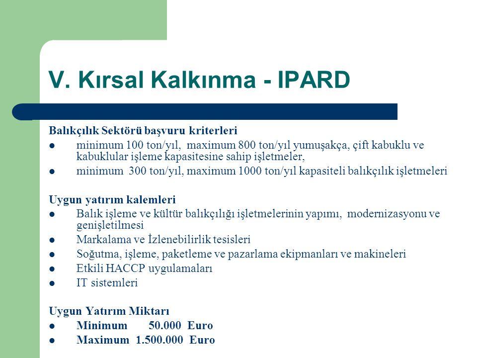 V. Kırsal Kalkınma - IPARD Balıkçılık Sektörü başvuru kriterleri  minimum 100 ton/yıl, maximum 800 ton/yıl yumuşakça, çift kabuklu ve kabuklular işle