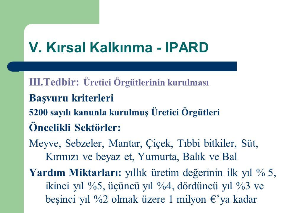 V. Kırsal Kalkınma - IPARD III.Tedbir: Üretici Örgütlerinin kurulması Başvuru kriterleri 5200 sayılı kanunla kurulmuş Üretici Örgütleri Öncelikli Sekt