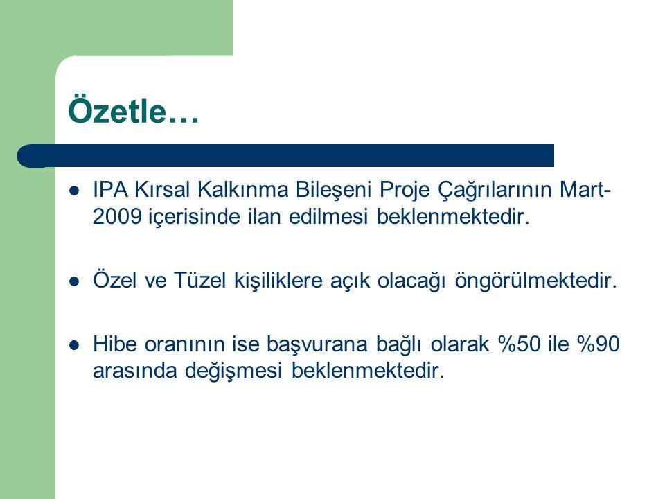 Özetle…  IPA Kırsal Kalkınma Bileşeni Proje Çağrılarının Mart- 2009 içerisinde ilan edilmesi beklenmektedir.