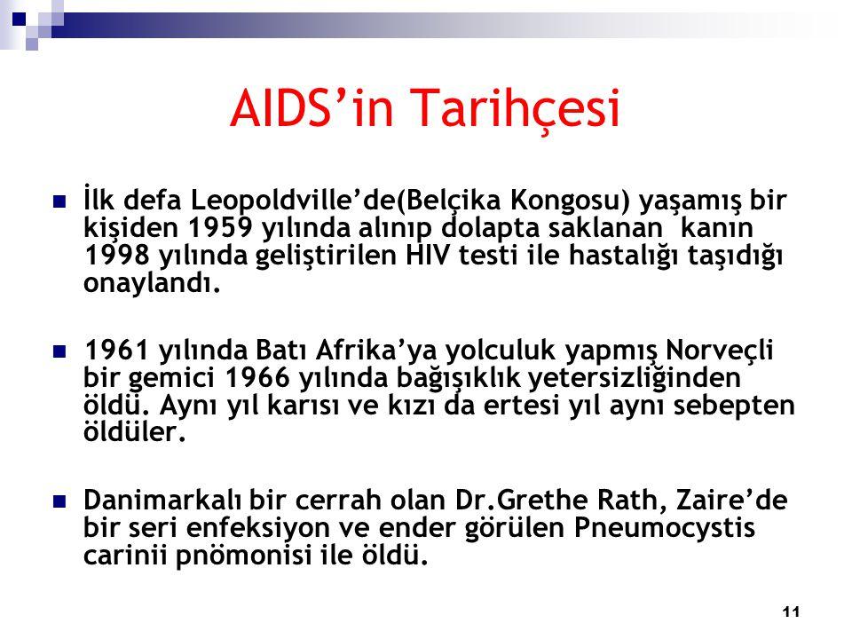 11 AIDS'in Tarihçesi  İlk defa Leopoldville'de(Belçika Kongosu) yaşamış bir kişiden 1959 yılında alınıp dolapta saklanan kanın 1998 yılında geliştiri