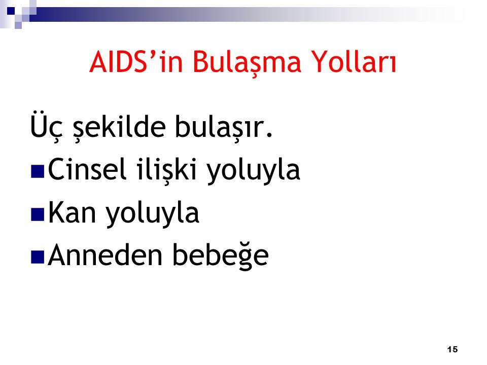 15 AIDS'in Bulaşma Yolları Üç şekilde bulaşır.  Cinsel ilişki yoluyla  Kan yoluyla  Anneden bebeğe